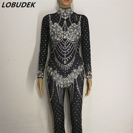 Wholesale Dance Rompers - Sparkly Glass Rhinestones Jumpsuit Crystal jumpsuit Occident Bar female singer DJ DS Costume sexy Jazz performance dance rompers