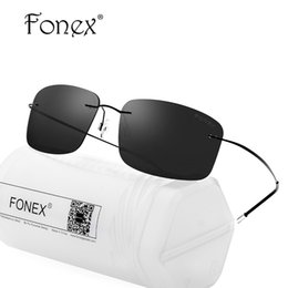f580838b63e eyewear korea Promo Codes - FONEX no Screw Rimless Men Square Polarized Sunglasses  Women Brand Designer