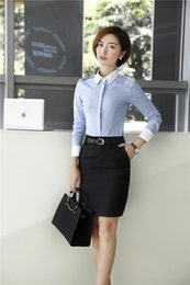 Wholesale Work Uniforms Lady - 2 Piece With Tops And Skirt Formal Uniform Styles Spring Fall Business Women Work Wear Office Ladies Clothes Sets Plus Size