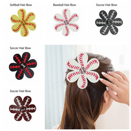 Wholesale leather flower hair clip - Softball Flower Leather Hair Clips Leather Seamed Softball Hair Bows With Rhinestone Hairs Clip Pin Baseball Hair On Barrette LJJO4483