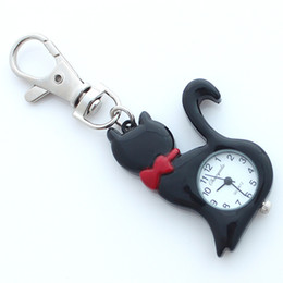 Прекрасный подарок для девочек онлайн- Fashion Lovely Pet Cat Watch Kids Girls Boy KeyringWatch Pocket Pendant Key Ring Chain Quartz Dress Watch + Gift Bag GL58K
