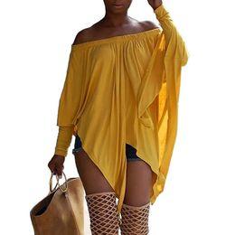 Wholesale batwing off shoulder tops - 2018 Summer casual loose tops Femmel Asymmetric stretchy off shoulder Batwing long sleeve t shirts slash neck front split tees