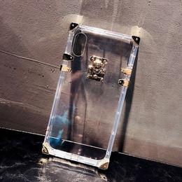 Designer de luxe Mode Rétro Métal Carré Transparent Doux Silicone Téléphone Cas pour Iphone 6 6s 7 8 Plus X XS Couverture Claire Coque ? partir de fabricateur