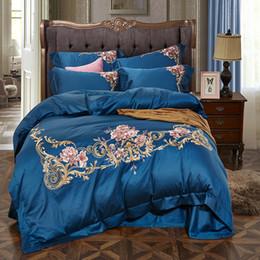 ägyptische baumwollbettwäsche setzt lila Rabatt Blau Rosa Lila Weiß Rot 60 S Ägyptischer Baumwolle Luxus Blume Stickerei Bettwäsche Set Bettbezug Bettlaken / Leinen Kissenbezüge 4 stücke