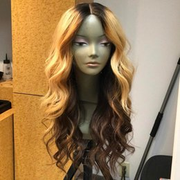 Wholesale Blonde European Hair Virgin Wig - Honey Blonde Lace Front Wig Glueless Full Lace Wigs Human Hair Ombre Wig Black Roots 1B 27 Body Wave Brazilian Virgin Hair
