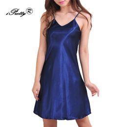 Wholesale Wholesale Plus Size Satin Robes - iPretty Women Night Dress Plus Size Faux Silk Satin Robe Nightdress Gown Deep V Neck Strappy babydoll vestidos Sexy Lingerie