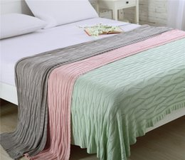 Wholesale King Pink Blanket - Wholesale Pink Green Grey Knitted Throw Blanket Cobertor Soft Bamboo Plaids Portable Car Air Conditioner Blankets Sofa Car Cover