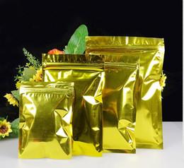 paquete al por menor de aluminio Rebajas 10x15cm 100 unids Oro Color Aluminio Zip Lock Bag Auto sello Zipper Poly Packaging Pouch Retail Plastic Zip Lock Bolsa de embalaje