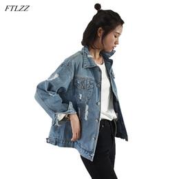 2019 jeans femme basique Ftlzz 2018 Femmes Manteau De Base Denim Veste Automne Hiver Jeans Vintage À Manches Longues Femme Outwear jeans femme basique pas cher