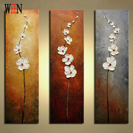 Wholesale oil painting frame knife - WEEN No Frame White Flower Hand Painted Oil Canvas Painting 3 Panels Module Palette Knife Wall Pictures Artwork Home Decorative