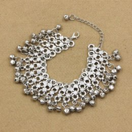 Wholesale Silver Sandals For Women - New 1PCS Hot Fashion Sexy Vintage Silver Anklet Chain Lots Bell Beads Ankle Bracelet Foot Jewelry For Women Barefoot Sandal M548