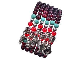 Braccialetto indiano della testa online-Indian Head Silver / Natural Blue Onyx Stone 6mm Beads For Men Bracciali Gioielli Donna Gioielli unisex, Regalo di Natale