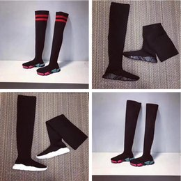 Wholesale knee high toe socks women - Name Brand Speed Trainer Thigh High Stretch-Knit Long Boots Woman Fashion Designer Slip On Sock Boots Cheap Casual Shoe All Black Size 40