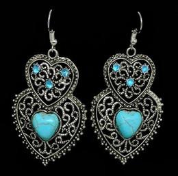 amerikanischen stil nägel Rabatt Heiße neue europäische und amerikanische Mode ausgehöhlt Muster Vintage Ohr Nagel nationalen Stil Liebe Türkis Ohrringe Halskette Set Mode clas