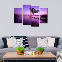 Wholesale Purple Picture Frames - Canvas Wall Art Purple Lake Tree Painting Picture Landscape Canvas Painting Wall Art for Home Living Room Decor Framed Ready to Hang