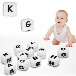 Wholesale Cube Letters Alphabet - Baby Literacy toys White Wood English A-Z Alphabet Beads Letter Cube Spacer Dice Beads 12mm EEA59