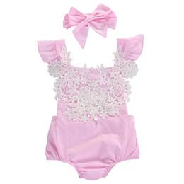 Ropa Infantil Bebé Recién Nacido Lindo Ropa De Cuero Floral Del Cordón Rosa Sunsuit 0-18M desde fabricantes