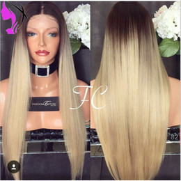 Wholesale Wig Hot Pink Long - Hot blonde ombre long straight synthetic lace front wigs with dark roots natural blonde hair heat resistant fiber hair for black women