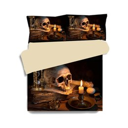 Wholesale Linen King Duvet - 3D Skull Duvet Cover Sets 100% Polyester Bedding Set 2-3pcs Twin UKQueen CNQueen USQueen King Size Bed Linens Bedclothes XF333