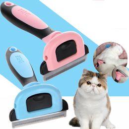 Wholesale Pet Dog Grooming Blades - Cat Grooming Tool Detachable Pet furmins Hair Removal Comb Dog Short Medium Hair Brush PP TPR Handle Beauty Brush Unhairing Comb