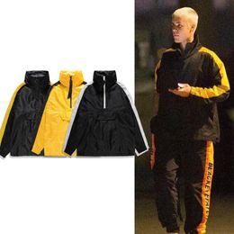 Wholesale Half Zip Hoodies - Justin Bieber Windbreaker Jacket Men Women Fashion Half-Zip Trench Coat Side Striped Pullover Hoodie Jackets MJG1113