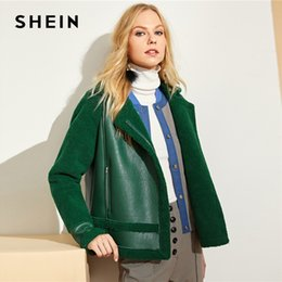 e2863847e1e SHEIN Green Zip Up Faux Shearling Jacket Highstreet Casual Plain Long  Sleeve Notched Coat Women Streetwear Autumn Jackets