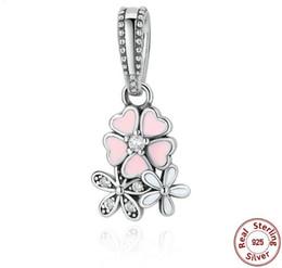 Gümüş Sterlini 925 Sakura Elmas Prong Ayarı için Takılar Boncuk DIY Bilezikler Kolye Kolye, 100% Gerçek Gümüş Romantizm Boncuk Düğün için nereden gümüş telkari kalp tedarikçiler