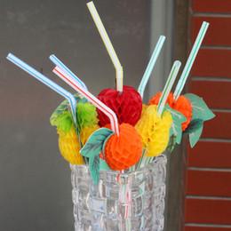 Canudos de arte on-line-CColour Palhas De Plástico Fruit Modelagem Dobrável Tubularis Adorável Art Decore Decorável Palha Para O Partido Bar Artigos de Aniversário 0 1rs UU
