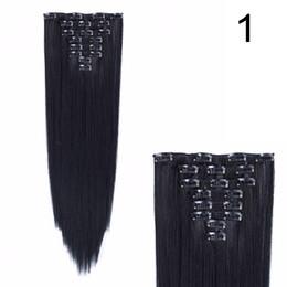 Clip fibre synthétique en Ligne-Longue droite 18 clips Clip synthétique dans les extensions de cheveux pour les femmes 8Pcs / Set Haute température fibre 24 pouces soyeux directement