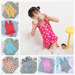 Wholesale children s swimwear cute - 25Styles Baby Girls One Piece Swimsuits Print Summer Swimsuit Kids Triangle Swimwear Children Skirt Bikinis Cute Beach Swimwear