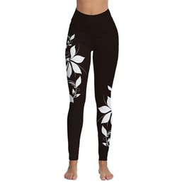 Frauen weiße yogahose online-Womens White Floral bedruckte hohe Taille Workout Leggings Skinny Tummy Control Yogahosen