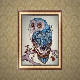 Pittura d'arte del gufo online-Blue Owl Spirit 5D Diamante Rotondo Strass Ricamo Pittura Animale FAI DA TE Punto Croce Kit Mosaico Disegno Home Decor Art Craft