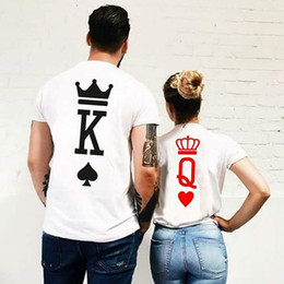 funny couple tees Promo Codes - Poker Graphic King and Queen Tumblr Funny Streetwear T Shirt Fashion Men Women Couple T-shirt Clothing 2018 Summer Lover Tees