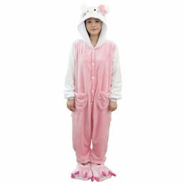 Wholesale Cartoon Anime Girl Sexy - Cute Kitty Cat Pajamas Cartoon Anime Animal Hooded Sleepwear Party For Women Men Girls Warm Homewear Sets