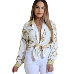 Wholesale White Shirts For Ladies - Autumn Gold Chain Print Blouses for Women Long Sleeve Turn Down Collar Button up Female Shirt Sexy Casual Ladies Tops