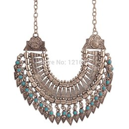 Wholesale Tassel Fringe Necklace - Wholesale- New Bohemian Fringe Tassel Collar Statement Necklace Vintage Boho Gypsy Silver Festival Turkish Ethnic Chunky Pendants Necklace