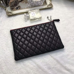 Wholesale Black Big Clutch - Big Popular Genuine Leather Black Clutch Bags Fashion Trends Cosmetic Bags Free Shipping