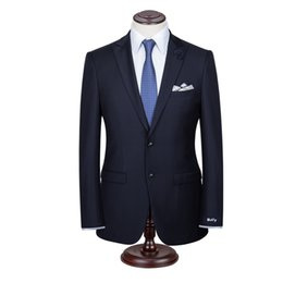 Wholesale Bespoke Suits Men - New Bespoke Mens Suits Classic Terno Slim High wool Navy Black Striped Mens Suits Wedding Groom Tuxedos 2 Pieces Jacket+Pant