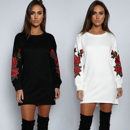 2020 оптовые цветы моды для одежды Wholesale- Long Sleeve Hoodie Sweatshirts Flower Cotton New Pullover Sweatshirt Tops Clothes Fashion Women Ladies Clothing Casual дешево оптовые цветы моды для одежды