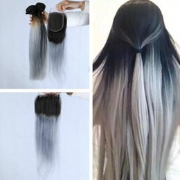 Wholesale Two Tone Colored Brazilian Hair - 1B Grey Brazilian Ombre Human Hair Bundles With Grey Lace Closure Two Tone Colored Hair Weave With Closure straight 4Pcs Lot
