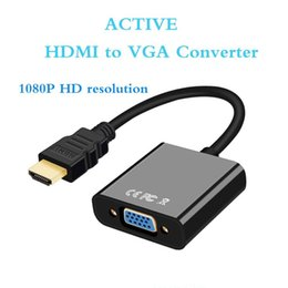 Wholesale active desktop - Perlinta Active HDMI to VGA Adapter Gold Plated 1080P ,HDMI Device To VGA Monitor Male to Female Converter Adapter Plug And Play