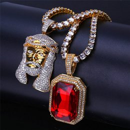 Wholesale zircon crystals for sale - Hiphop Ruby Jesus Pendant Necklaces For Men Luxury Gold Plated Chain Ice Out Zircon Cuban Necklace Jewelry Hip Hop Accessories Hot Sale