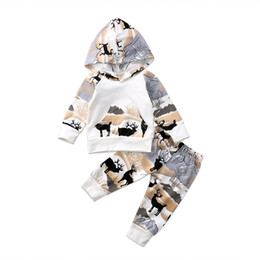 calças bonitos do bebé Desconto Crianças Roupas de Algodão Com Capuz Tops Calças Leggings 2 pcs Animais Fofos Roupas de Bebê Definir Roupas Quentes Veados Impressão Bebê Meninos Meninas Roupas de Natal