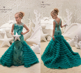 Wholesale Teal Mermaid - Teal Mermaid Flower Girl Dresses Sequins Applique Ruffle Tiered Tulle First Communion Dress Cute Girls Pageant Dress With Detachable Train
