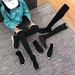 Wholesale white long boots women - 2018 Luxury Long Socks Shoes Speed Trainer For Girl lady Women Slender Shoes Black White New Color Boots Sport Sneakers 35-39