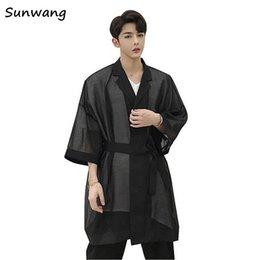 мужская одежда Скидка Men Mesh Windbreaker Jacket Long Style Fashion Casual mens trench Loose Male Punk Gothic Dress Coat kimono summer cardigian