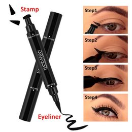 Wholesale full wing - Double Ended Black Eyeliner Liquid Pencil & Eyeliner Stamp Long Lasting Cat Eye Wing Style Eyes Makeup Eye Liner Stamps CCA9485 120pcs