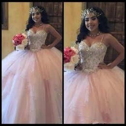 Wholesale Beautiful Bones - Beautiful Bead Crystal Pink Quinceanera Dresses Gown sweet-sixteen-dress Sequins Tulle Bodice Long Prom Dresses Formal Party Ball Custom