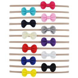 Wholesale Felt Hair Bands - 12 PCS Stretch Nylon Headband With Felt Bow Knot Hair Band For Teens Girls Kids Knotted Head Wrap Hair Accessories