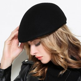 Wholesale Gray Hat Wool - Chic 100% Wool Warm Beret For Girls 2018 Spring All Match Adjustable Size Bridal Hats In Stock